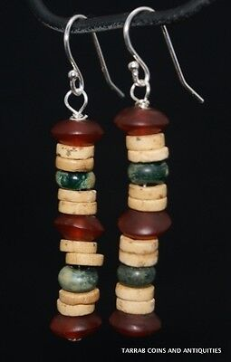 Ancient Roman Glass & Egyptian Carnelian & Mummy Bead Earrings; 300 Bc - 100 Ad 2