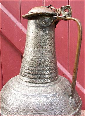 Large Islamic Ottoman Ewer Aquamanile Tinned Copper 17th C 3