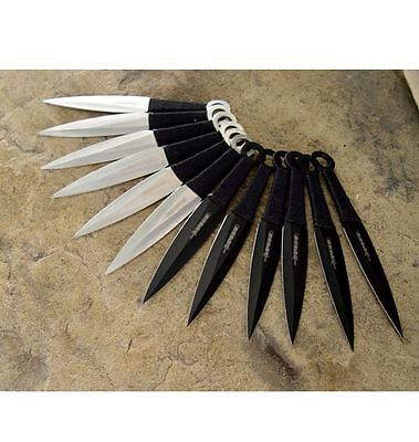 "12pc Naruto Kunai 6"" THROWING KNIVES Ninja Knife Fixed Blade Dagger SET w/Sheath 10"