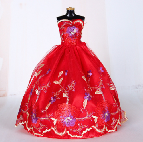 9PCS Barbie Doll Wedding Party Dress Princess Clothes Handmade Outfit for 12in. 4