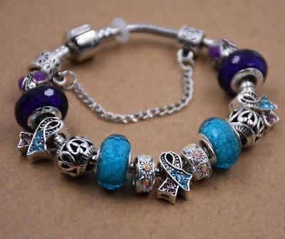Women's European Charm Bracelet Silver Plated Crystal Charms Cuff Bangle 20CM 8