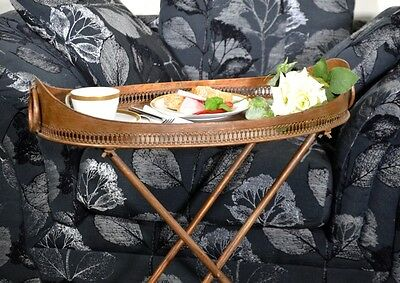 Beistelltisch Kupfer Teewagen Metall Messing Vintage Ovaler Seitentisch 6