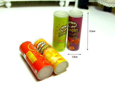 4pcs Dollhouse Miniature Chips Potato Food Grocery Snack Jars Accessory Re-ment 4
