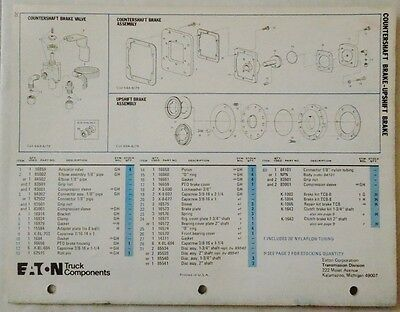EATON FULLER TRANSMISSION Rto-958Ll Series Parts List Book