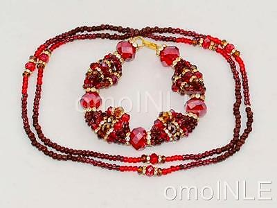 Oya Ilde Santeria Ifa Orisha Bracelet & Collar Idde Mazo Glass Beads Model 2
