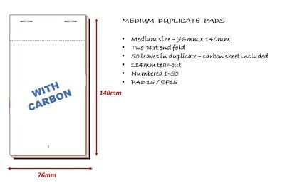 2 Ply Carbon Copy RESTAURANT Duplicate Bar Food WAITER PADS Numbered 1-50 EF15 4