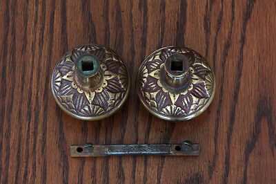 Antique Pair Bronze Vernacular Door Knobs with Spindle. Circa-1880s- Hardware 5