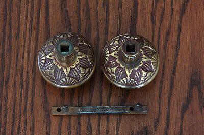 Antique Pair Bronze Vernacular Door Knobs with Spindle. Circa-1880s- Hardware 5