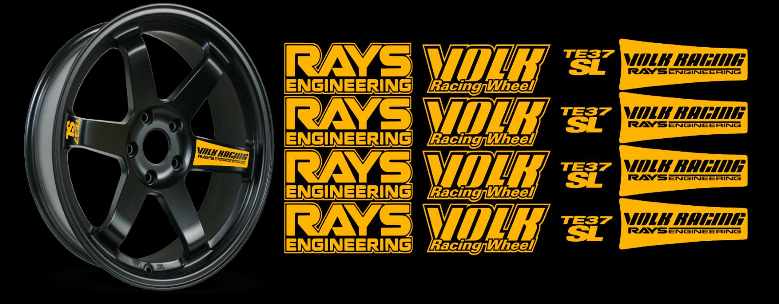 JDM Reflective RAYs VOLK Racing TE37SL Wheel 16 sticker decal Drift 4