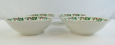 """Gibson Everyday Christmas """"Holly & Berry"""" Set Of 4 Soup / Cereal Bowls 2"""
