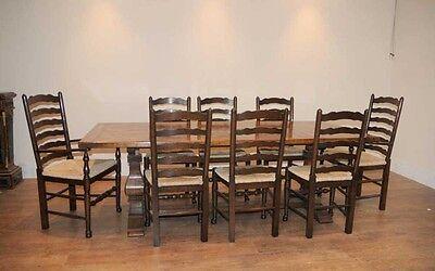 8 Solid Oak Pad Foot Ladderback Kitchen Chairs 3