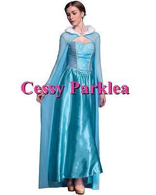 K82 Deluxe Womens Frozen Snow Queen Elsa Costume Cosplay Party Gown Fancy Dress