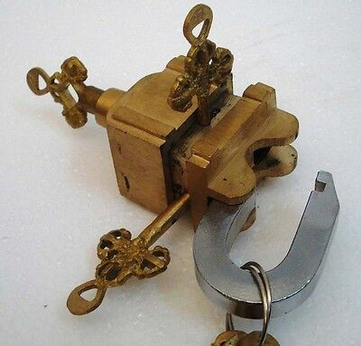 Brass Padlock Square Trick Puzzle Lock  with 6 Keys 11