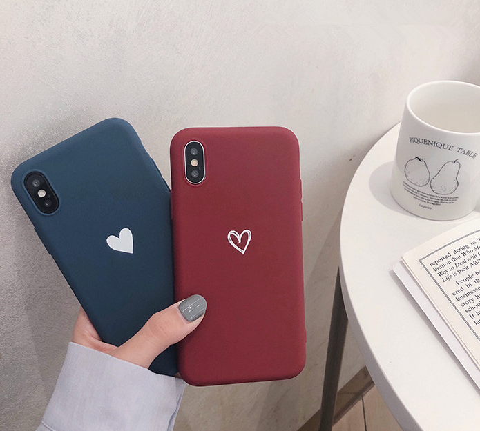 For iPhone Xs Max XR 8 7 Plus Ultra Slim Case Matte Heart Protective Phone Cover 6