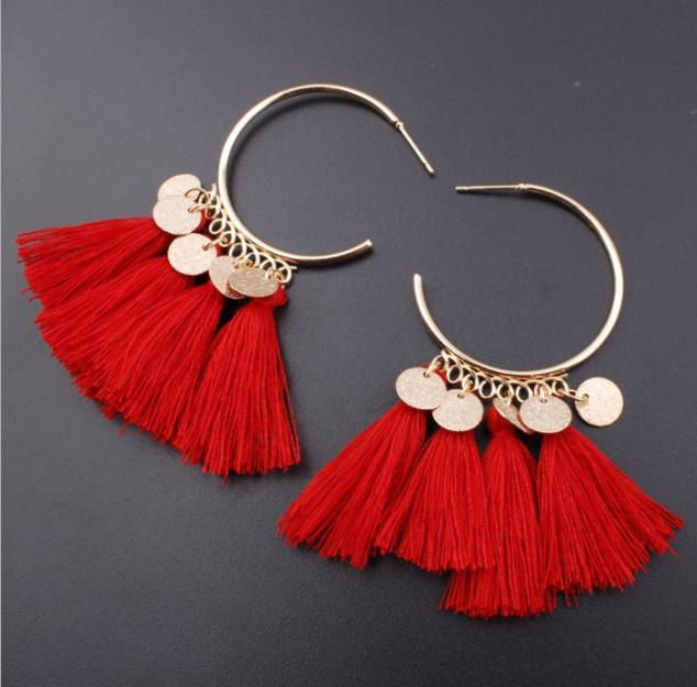 Fashion Bohemian Earrings Women Vintage Long Tassel Fringe Boho Dangle Earrings 10