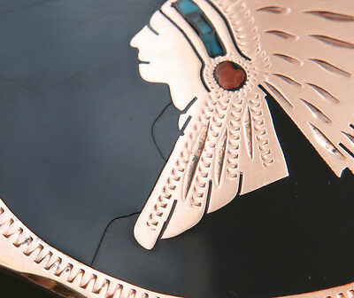 Vtg Johnson Held Turquoise Coral Indian Chief Inlay Handmade Western Belt Buckle 3