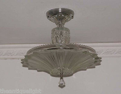 334 Vintage 30's 40's Ceiling Light Lamp Fixture  Chandelier Re-Wired SUNFLOWER 5