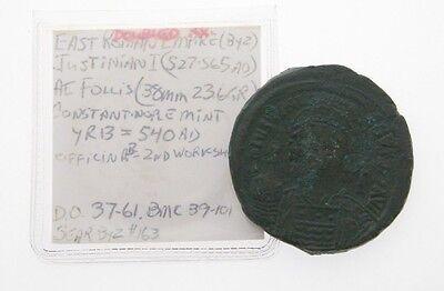 540 Ad Byzantinisch Ae Follis Justin I Jahr 13 M Constantinople Ungebraucht Münzen Münzen Mittelalter