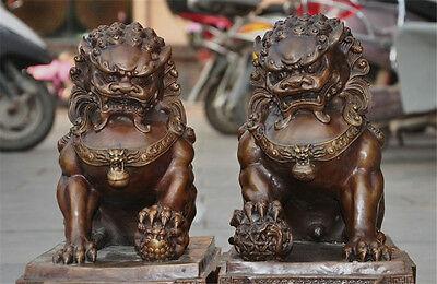 Antique Bronze Fengshui Foo Fu Dog Lion Ball Pair Old Temple God Statue