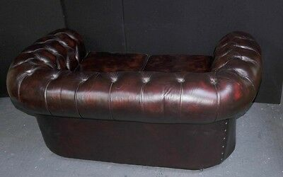 Vintage Leather English Chesterfield Sofa Deep Button Couch 10