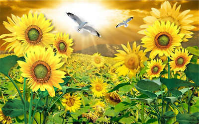 Concise Sunflower 3D Full Wall Mural Photo Wallpaper Printing Home Kids Decor