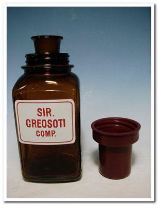 Alte Apothekenflasche SIR. CREOSOTI COMP. Pressglas.
