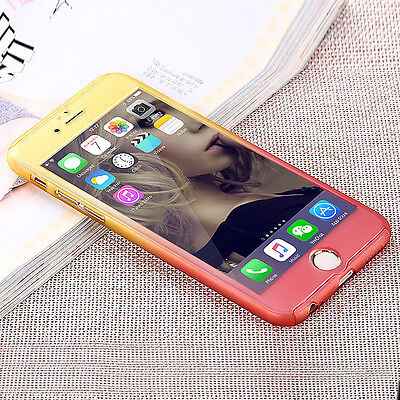 Hybrid 360° Hard Ultra thin Case+Tempered Glass Cover For Apple iPhone 5 6 Plus 6