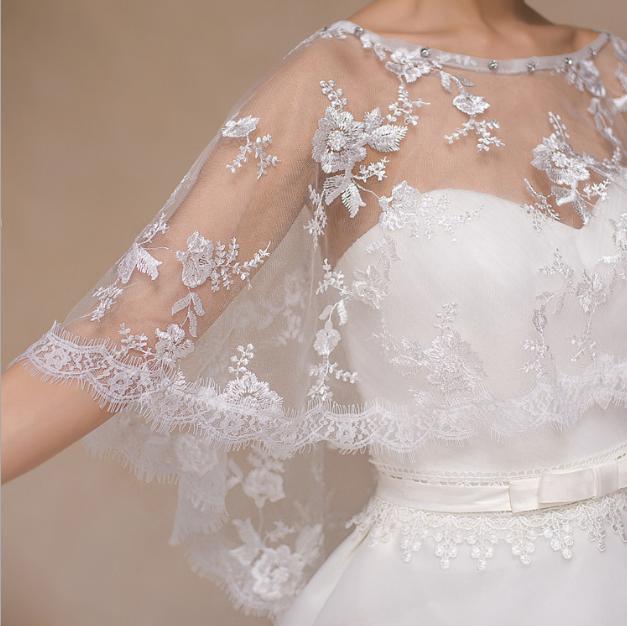 UK Braut Hochzeit Umhang Spitze Schulterjäckchen Schal Bolero Tüll Bestickt Wrap