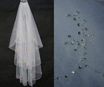 Bridal Wedding White Veil 2 Tier Handmade Elbow Beaded With Comb Soft Tulle 7