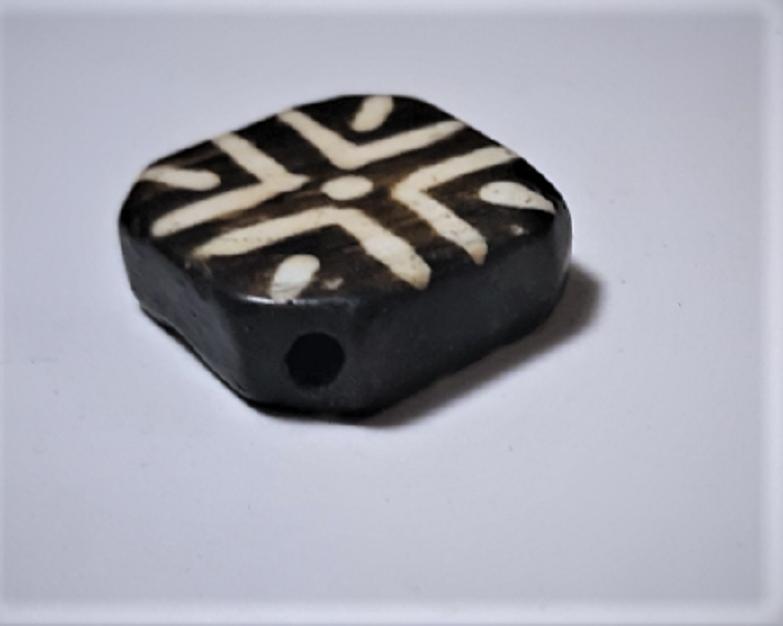 Antique Pumtek Pyu Diamond Tabular Cross Opalized Fossil Palm Wood Bead 23 mm 5