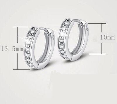 Women Silver Round Crystal Heart Hoop Ear Stud Earrings Wedding Bridal Jewelry 5