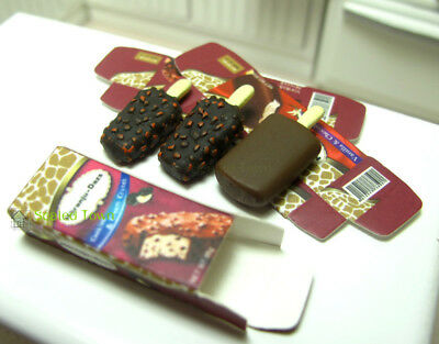 3 Dollhouse Miniature Food Dessert Chocolate Ice cream Sticks 1:12 Fridge Decor 2