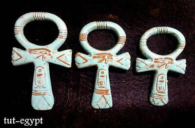 3  RARE ANCIENT EGYPTION ANTIQUE ANKH KEY OF LIfe,HOrus Eye Amulet (1359-1147BC) 2
