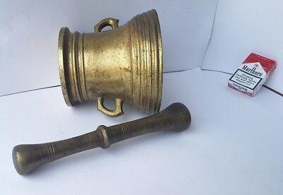 Antiker Bronze Mörser mit Pistill/ Stößel, um 1700 AL717 8