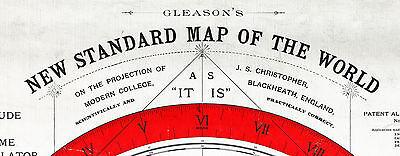 "Flat Earth Map LARGE 23""x32"" Alexander Gleason 1892 Standard Map of the World"