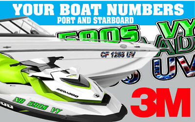 Shadow Grass Custom  Boat Registration Numbers or PWC Decals Stickers Graphics