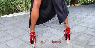 SEXY scarpe decolte PLATEAU invisibile tacco 14,5 dal 36 al 42 fashion GLAMOUR