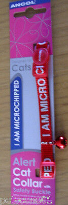 Ancol I Am Microchipped Cat Alert Collar Safety Buckle RED + red bell 2