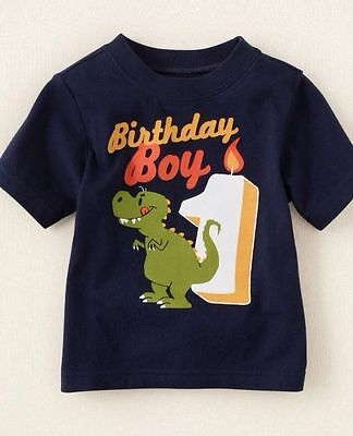 2 Of 7 NEW 1st BIRTHDAY 1 Year Baby Boys Dino Robot Pup Shirts 9 12