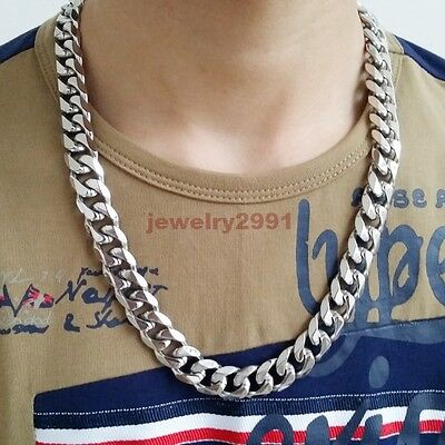 "Top 316L Stainless Steel Heavy Link Silver Curb Cuban Chain Men Necklace 8""-40"" 7"