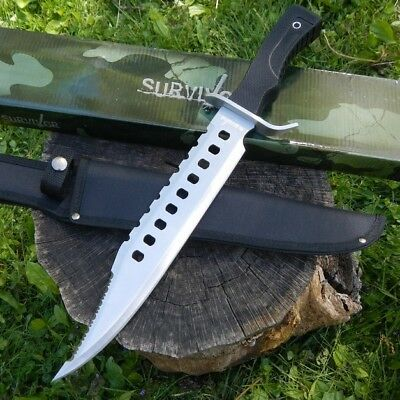 "17"" Tactical Hunting Rambo Full Tang Fixed Blade Knife Machete Bowie w/ Sheath 2"