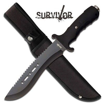 "12"" TACTICAL HUNTING MACHETE SURVIVAL KNIFE Military Bowie FIXED BLADE w/ SHEATH 3"