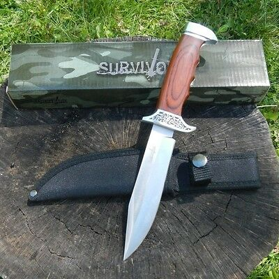 """10"""" Full Tang Wood Fixed Blade Knife Hunting Skinning Survival Army Bowie 2"""