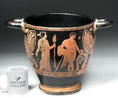 Huge Apulian Skyphos - Eros on Horse, Satyr & Maenad Lot 26