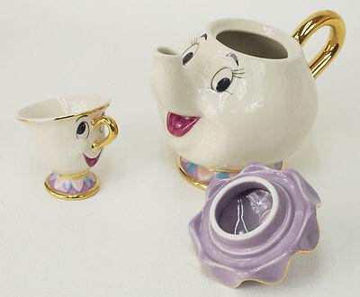 NEW Disney Beauty and The Beast Mrs. Potts Chip Tea Pot & Cup set Teapot Mug 3