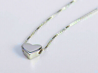 Cute Heart Charm Pendant 925 Sterling Silver Chain Necklace Women Jewellery Gift 4