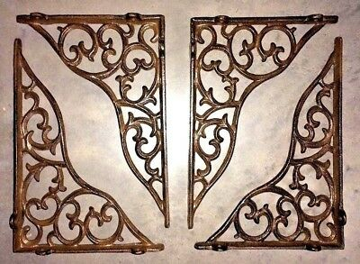 SET OF 4 LARGE VICTORIAN VINE SHELF BRACKET BRACE Rustic Antique Brown Cast Iron 6