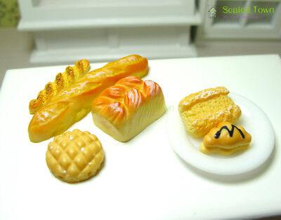 6pc Dolls House Miniature Kitchen Food Bread Toast Bakery Pastry Shop Decor 1:12 2