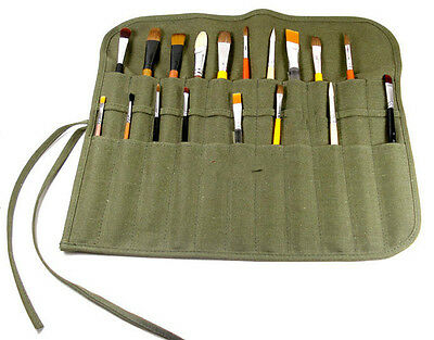 Popular Roll Up Canvas Paint Brush Storage Case Bag For Watercolor Oil WF 5