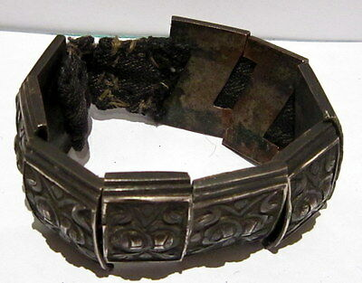 BEAUTIFUL ANTIQUE 1800s.SILVER BRACELET in 9 PARTS,AMAZING FLORAL DECORATION#21C 11